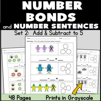 Kindergarten Number Bonds: Addition and Subtraction to 5: Set 2