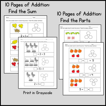 Kindergarten Number Bonds: Beginner Number Bonds 30 pg Pack: Set 1
