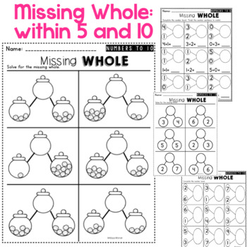 Kindergarten Number Bonds Worksheets to 10 by Melissa Moran | TpT