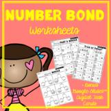 Kindergarten Number Bonds Worksheets to 10 and Google Slides™ Digital Task Cards