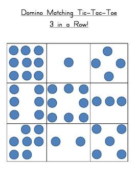 Kindergarten Number Domino Matching Tic-Tac-Toe