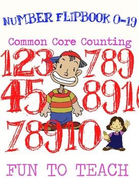 Kindergarten Number Flipbook 0-19 - Color, Cut, and Assemble!