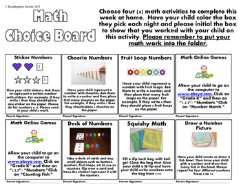 Kindergarten Number Math Homework