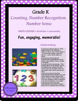 Kindergarten Number Name, Recognition, Number Sense, K.CC3