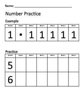 Kindergarten Number Practice