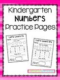Kindergarten Number Practice Pages