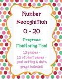 Kindergarten Number Recognition 0-20 Progress Monitoring Assessment for RTI