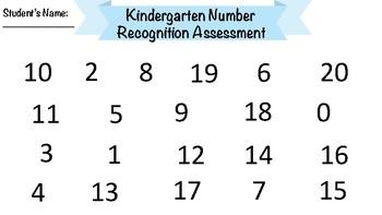 Kindergarten Number Recognition Assessment (WITH FLASHCARDS)