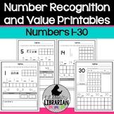 Kindergarten Number Recognition and Value Printables 1 to 30 Worksheets