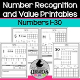 Kindergarten Number Recognition and Value Printables 1 to