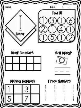 Kindergarten Number Sense Activities
