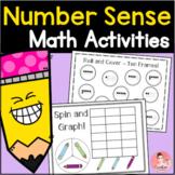 Kindergarten Number Sense Math Work Mats for Ten Frames, Tallies, Graphing