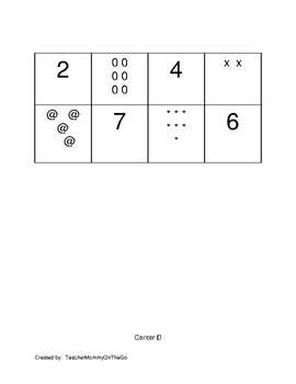 Kindergarten Number Sense Menu