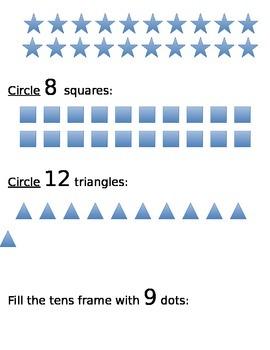 Kindergarten Number Set Assesment
