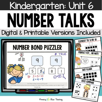Kindergarten Number Talks ~ Unit 6  (February)