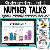 Kindergarten Number Talks Unit 2 for Classroom and DISTANCE LEARNING
