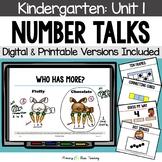 Kindergarten Number Talks ~ Unit 1 (September) DIGITAL and Printable