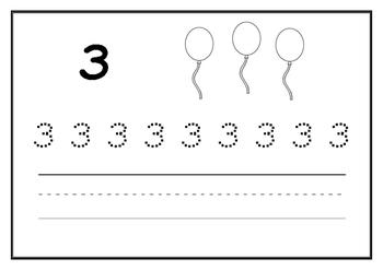 Kindergarten Number Writing Practice Booklet - Printable - Numbers 1-10