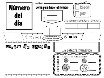 Numero del Dia/Number of the Day in Spanish for Kindergarten