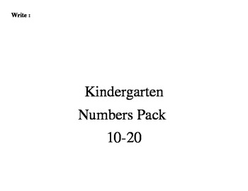Kindergarten Numbers 10-20