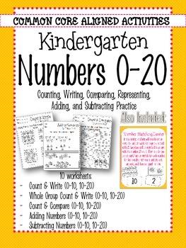 Kindergarten Numbers 0-20 Count & Write
