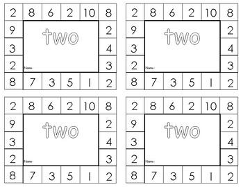Kindergarten Numbers 1-10 punch cards
