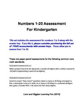 Kindergarten Numbers Assessment