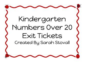 Kindergarten Numbers Over 20 Exit Tickets