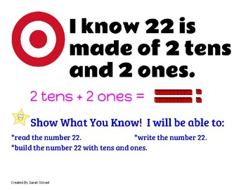Kindergarten Numbers Over 20 Learning Targets w/ Success Criteria