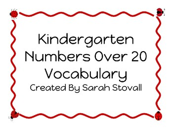 Kindergarten Numbers Over 20 Vocabulary
