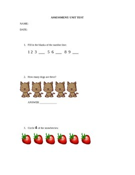 Kindergarten Numbers Unit Test