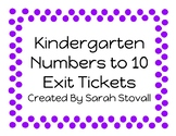 Kindergarten Numbers to 10 Exit Tickets