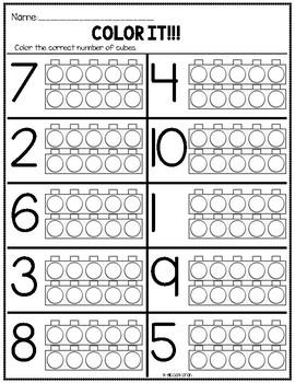 Kindergarten Numbers to 10 Worksheets