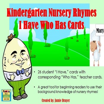 Basic Nursery Rhymes I Have Who Has Cards