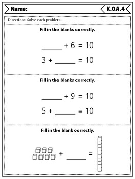 Kindergarten OA Quizzes: Operations & Algebraic Thinking Quizzes, Kindergarten