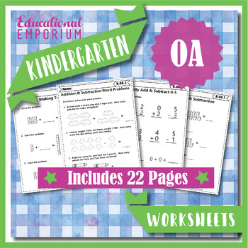 Kindergarten OA Worksheets: Operations & Algebraic Thinking Worksheets