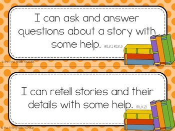 Kindergarten Objective Cards (I Cans): DOTS, Common Core Aligned