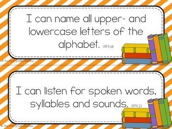 Kindergarten Objective Cards (I Cans): STRIPES, Common Core Aligned
