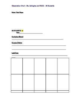 Kindergarten Observation Chart - Double Sided