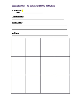 Kindergarten Observation Chart - Double Sided