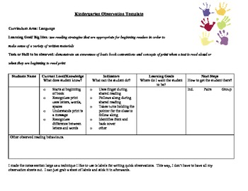 Kindergarten Observation Template- Book Conventions, reading strategies