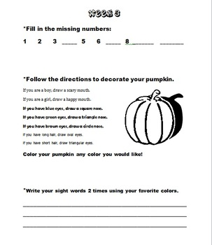 Kindergarten October Homework
