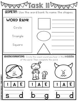 Kindergarten Monthly Homework or Morning Work - October