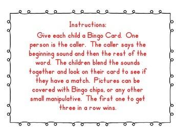 Kindergarten Onset Rime Animal Bingo Game Phonemic Awareness