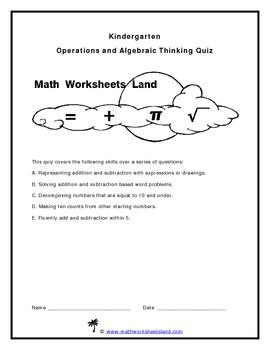 Kindergarten Operations and Algebraic Thinking Quiz