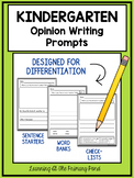 Kindergarten Opinion Writing Prompts For Differentiation