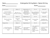 Kindergarten Opinion Writing Rubric