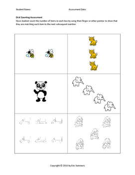 Kindergarten Oral Counting Assessment