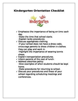 Kindergarten Orientation Checklist