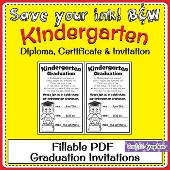 Kindergarten Owl Graduation Diploma and Invitation Fillable B&W Save Ink